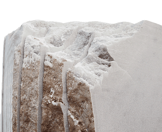 White marble slabs for indoor and outdoor processing